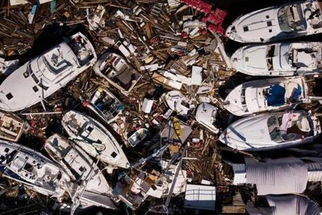 In this aerial view, storm damaged boats are seen in the aftermath of Hurricane Michael on October 11, 2018 in Panama City, Florida. - Residents of the Florida Panhandle woke to scenes of devastation Thursday after Michael tore a path through the coastal region as a powerful hurricane that killed at least two people. (Photo by Brendan Smialowski / AFP)BRENDAN SMIALOWSKI/AFP/Getty Images