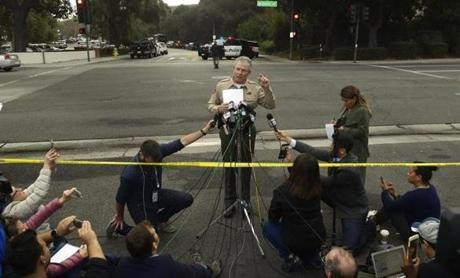 Ventura County Sheriff Geoff Dean speaks to reporters near the scene in Thousand Oaks, Calif., on Thursday, Nov. 8, 2018, where a gunman opened fire the previous night inside a country dance bar crowded with hundreds of people. Ventura County sheriff's spokesman says gunman is dead inside the bar. (AP Photo/Mark J. Terrill)