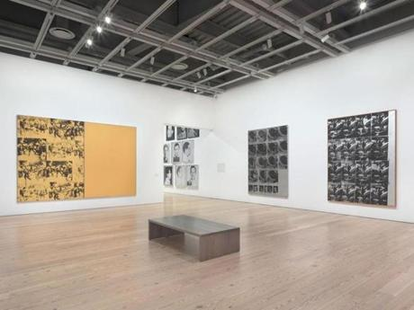 Installation view of Andy Warhol - From A to B and Back Again (Whitney Museum of American Art, New York, November 12, 2018-March 31, 2019). From left to right: Mustard Race Riot, 1963; Most Wanted Men No. 3, Ellis Ruiz B., 1964; Most Wanted Men No. 1, John M., 1964; Most Wanted Men No. 6, Thomas Francis C., 1964; Most Wanted Men No. 7, Salvatore V., 1964; Most Wanted Men No. 12, Frank B., 1964; Most Wanted Men No. 5, Arthur Alvin M., 1964; Tunafish Disaster, 1963; Suicide (Fallen Body), 1963. Photograph by Ron Amstutz. © 2018 The Andy Warhol Foundation for the Visual Arts, Inc. / Licensed by Artists Rights Society (ARS), New York