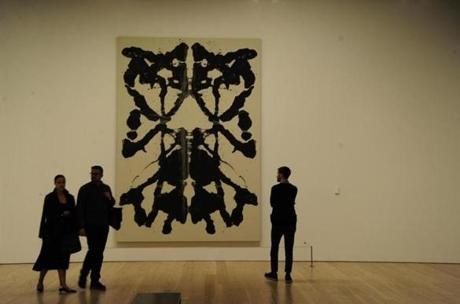 "A Rorschach painting in the exhibit ""Andy Warhol — From A To B And Back Again."""