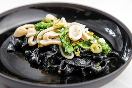 Squid ink fettuccine at Talulla in Cambridge
