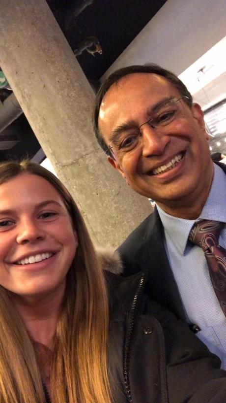 "Getting a ""selfie with Swamy"" is now part of the UMass senior bucket list. Here he poses with Anna Nilsson in the Campus Center."