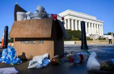 Trash in a box overflowed near the Lincoln memorial.
