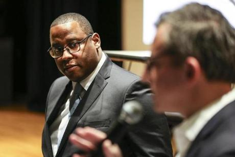 Mattapan, MA--1/17/2019--Tito Jackson at a community meeting in Mattapan on Jan. 17. The two-hour meeting drew about 150 people to the Mildred Avenue Community Center to hear Jackson outline his plan for a new marijuana store in Mattapan. (Nathan Klima) Topic: 01seahunter Reporter: