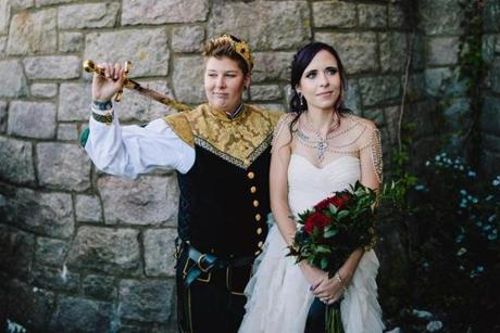 Below: Ashley and Charlotte Buchanan, who live in Salem, planned a Game of Thrones-themed wedding at Hammond Castle in Gloucester.