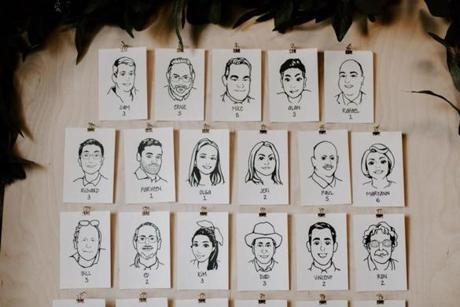 Jacky Wilson and Will Chiang commissioned portraits of their guests for the seating chart at their wedding last June.