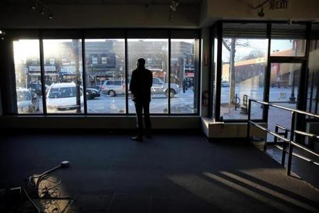 (FOR SPOTLIGHT STORY) Boston, MA - January 31, 2019: Chauncy Spencer stands in the store where he hopes to open a marijuana shop on Blue Hill Ave in Mattapan, MA on January 31, 2019. (Craig F. Walker/Globe Staff) section: Metro reporter: dungca