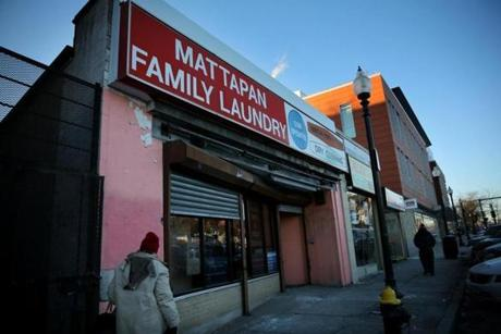 (FOR SPOTLIGHT STORY) Boston, MA - January 31, 2019: (NEED TO CONFIRM THIS WITH REPORTER) Chauncy Spencer said a marijuana shop may open in the Mattapan Family Laundry, about a block away from where he hopes to open a marijuana shop on Blue Hill Ave in Mattapan, MA on January 31, 2019. (Craig F. Walker/Globe Staff) section: Metro reporter: dungca