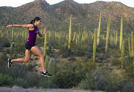 Training in Saguaro National Park, with a bounce in her step.