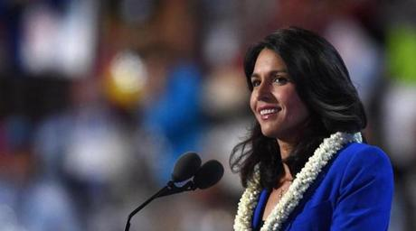 (FILES) In this file photo US Representative Tulsi Gabbard speaks during Day 2 of the Democratic National Convention at the Wells Fargo Center in Philadelphia, Pennsylvania, July 26, 2016. - Rep. Tulsi Gabbard US Representative for Hawaii's 2nd congressional district since 2013, said Friday January 11, 2019 she will run for president in 2020. (Photo by/ AFP)TIMOTHY A. CLARY/AFP/Getty Images