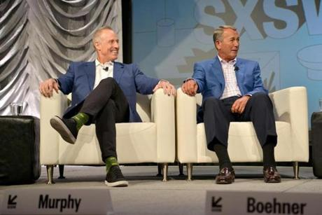 AUSTIN, TX - MARCH 15: Kevin Murphy, John Boehner speak onstage at Convergence Keynote: Kevin Murphy and John Boehner during the 2019 SXSW Conference and Festivals at Hilton Austin on March 15, 2019 in Austin, Texas. (Photo by Nicola Gell/Getty Images for SXSW)
