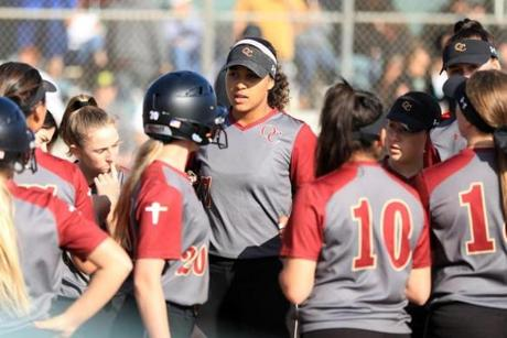 Maya Brady and her Oaks Christian teammates during a recent victory.