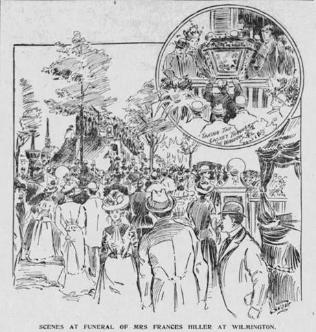 Image of Frances B. Hiller's funeral in the Boston Globe. Thursday May 24 1900. NOTE: Her name was spelled multiple different ways at different times. We are settling with France B. Hiller.