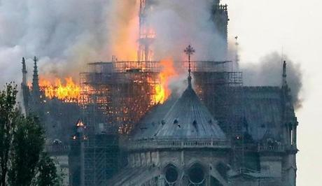 Flames rise during a fire at the landmark Notre Dame Cathedral in central Paris on April 15, 2019 afternoon, potentially involving renovation works being carried out at the site, the fire service said. (Photo by FRANCOIS GUILLOT / AFP)FRANCOIS GUILLOT/AFP/Getty Images