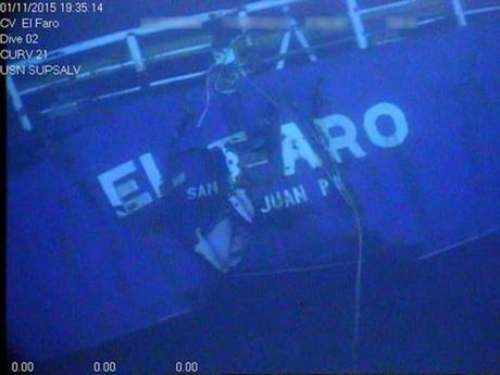This undated image made from a video by the National Transportation Safety Board shows the stern of the sunken ship El Faro. Federal accident investigators are releasing a transcript of audio recovered from the bridge of the doomed freighter El Faro, which sank last year in a hurricane near the Bahamas. The recordings transcribed from the ship's voyage data recorder are set to be released Tuesday, Dec. 13, 2016, by the NTSB in Washington, D.C. (National Transportation Safety Board via AP)