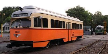 mattapan sq...mbta yard...recently refurbished trolley now being used by mbta...(not today,however)...PALMER STORY......