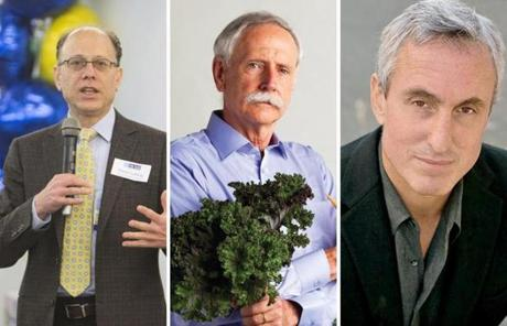 Harvard researchers David Ludwig (left) and Walter Willett (middle), along with science writer Gary Taubes (right), come from different nutrition camps but are seeking common ground.