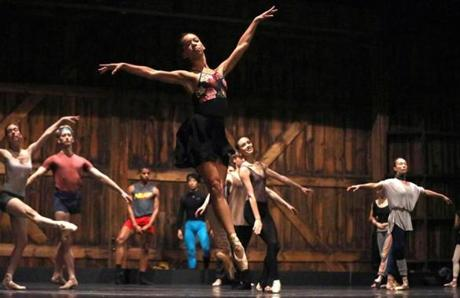 Becket, MA 8/23/19 Boston Ballet dancer Chyrstyn Fentroy (cq), center, participates in company class, at Jacob's Pillow (cq), in Becket. They dance on the stage of the Ted Shawn Theatre (cq), where they will perform. Photo by Pat Greenhouse/Globe Staff Topic: 22Fentroy Reporter: Marella Gayla