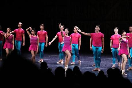 "Becket, MA 8/23/19 Boston Ballet dancer Chyrstyn Fentroy (cq), center, takes a curtain call with the cast for William Forsythe's ""Playlist (EP) (excerpts)."" This is the company's evening performance at Jacob's Pillow (cq), in Becket. Photo by Pat Greenhouse/Globe Staff Topic: 22Fentroy Reporter: Marella Gayla"