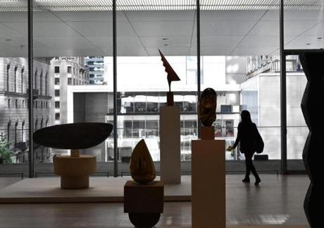 A member of the media walks through one of the galleries during a press preview on October 10, 2019, held for the expanded and re-imagined Museum of Modern Art (MOMA) ahead of the October 21 opening of its expanded campus. - Developed by MoMA with architects Diller Scofidio + Renfro in collaboration with Gensler, the expansion offers a re-imagined presentation of modern and contemporary art, and adds over 40,000 square feet (3,716 square meters) of gallery space. (Photo by TIMOTHY A. CLARY / AFP) / RESTRICTED TO EDITORIAL USE - MANDATORY MENTION OF THE ARTIST UPON PUBLICATION - TO ILLUSTRATE THE EVENT AS SPECIFIED IN THE CAPTION (Photo by TIMOTHY A. CLARY/AFP via Getty Images)
