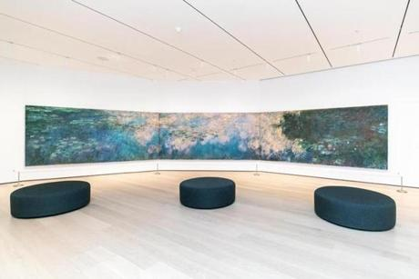 "Claude Monet's ""Water Lilies"", exhibited at the Museum of Modern Art, in New York, Oct. 7, 2019. MOMA is reopening on Oct. 21 after a $450-million, 47,000-square-foot expansion, and a collection rehang featuring a more diverse array of art. (Jeenah Moon/The New York Times)"