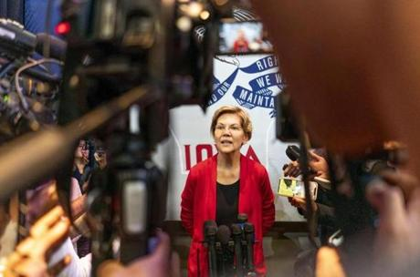 Warren spoke to journalists last week after a town hall in Indianola, Iowa.