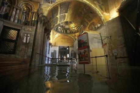 The entrance to St. Mark's Basilica was flooded during high tide Tuesday.