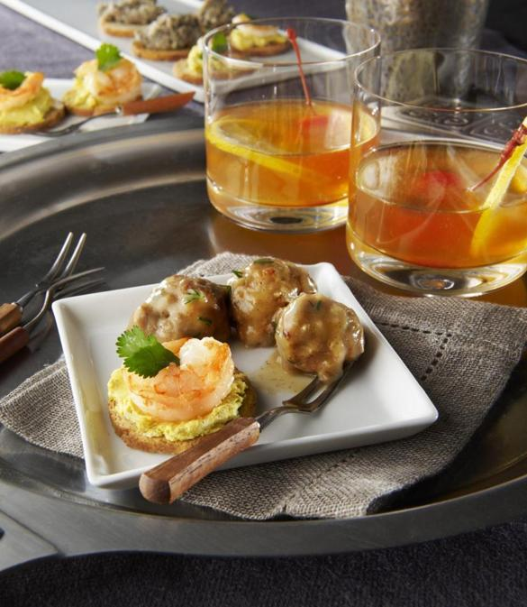 Recipes for amad menparty the boston globe for Meatball canape