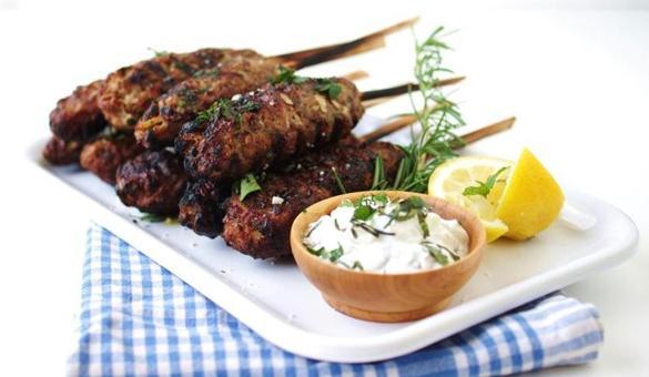 Recipe for ground lamb kebabs with tzatziki sauce - The Boston Globe
