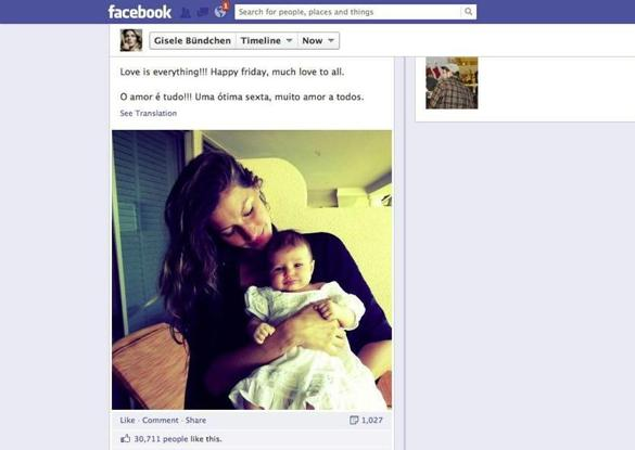 Gisele Bundchen posts pic of daughter on Facebook - The ... Gisele Bundchen Facebook