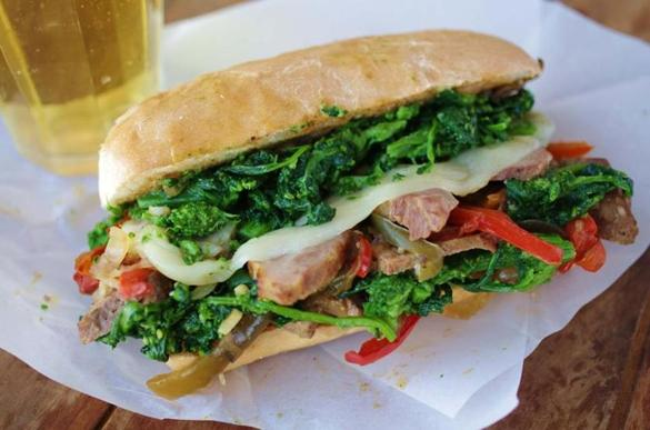 Recipe for Philly-style hot pork sandwiches with broccoli rabe - Food ...