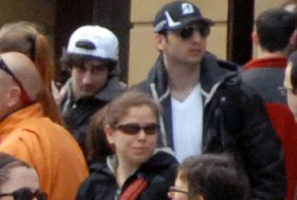 Dzhokhar and Tamerlan Tsarnaev were pictured in the upper-right of this photo taken before the Boston Marathon bombings on Boylston Street.