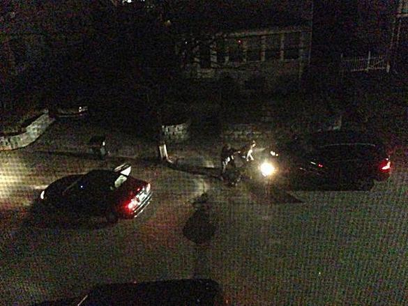 The carjacked Mercedes (right) can be seen in this image of last week's events in Watertown.