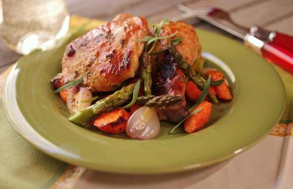 Recipe for roast chicken legs with tarragon and spring vegetables ...