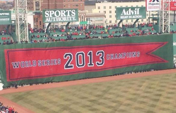 The Red Sox unfurled the 2013 World Series banner during the ceremony.