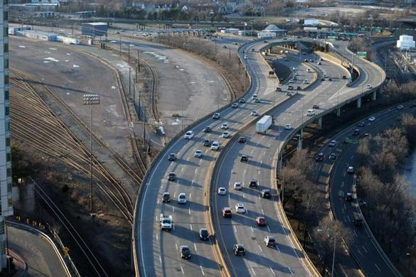 An aerial view of the Mass. Pike.