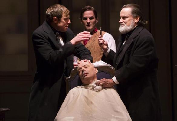 Greg Balla, Lee Sellars (seated), Tom Patterson, and Richmond Hoxie in Elizabeth Egloff's provocative medical thriller ETHER DOME directed by Michael Wilson, playing Oct. 17 - Nov. 23, 2014 at the South End / Calderwood Pavilion at the BCA. Photo: T. Charles Erickson