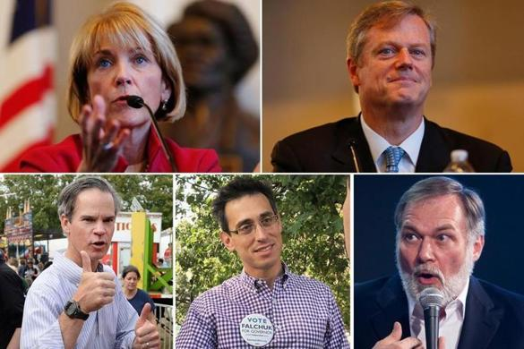 Top row: Martha Coakley (left), Charlie Baker. Bottom row from left: Jeff McCormick, Evan Falchuk, and Scott Lively.