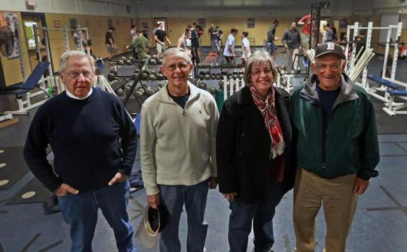 Beverly boosters Dick Young (left), Dave Contarino, Janice Dooling,  and Frank Forti.