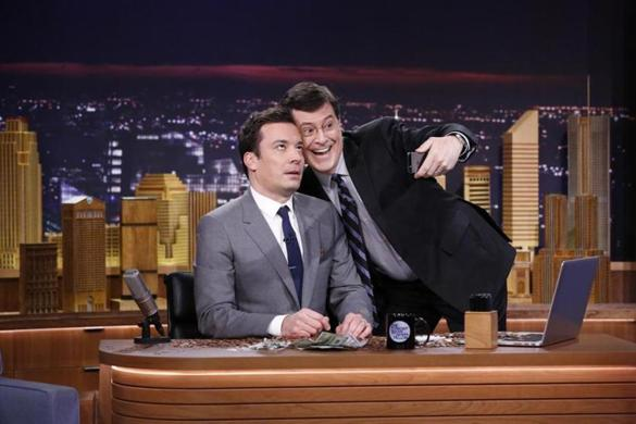 Jimmy Fallon (left)  and Stephen Colbert will host rival shows.