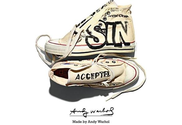 (From left) Recording artist King Tuff's Chuck Taylors are patriotic. Andy Warhol drew and wrote words on his All Stars. Contemporary artist Ron English's shoes are splattered with paint.