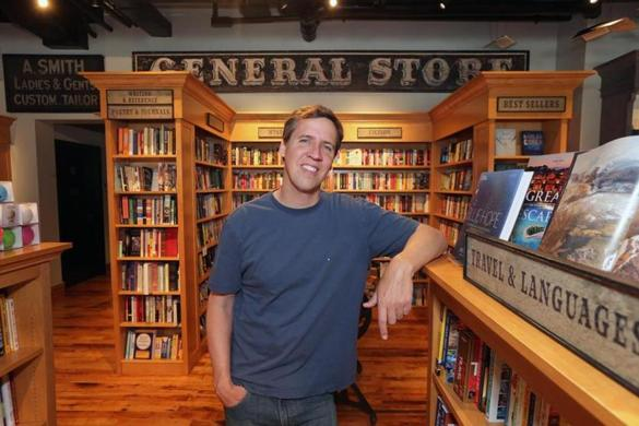 "Jeff Kinney, author of the best-selling ""Diary of a Wimpy Kid,"" inside his new bookstore An Unlikely Story in Plainville."