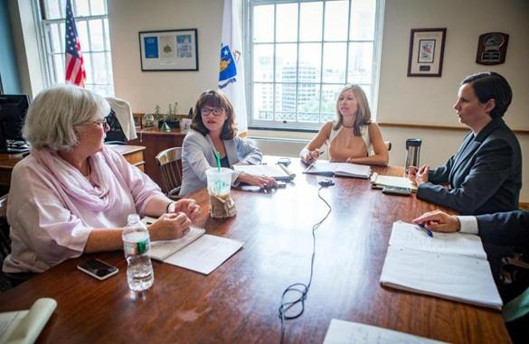 From left: Martha Walsh, Rachel Madden, Kristen Lepore, and Jennifer Sullivan attended a senior staff meeting for the Executive Office of Administration and Finance at the State House in Boston.