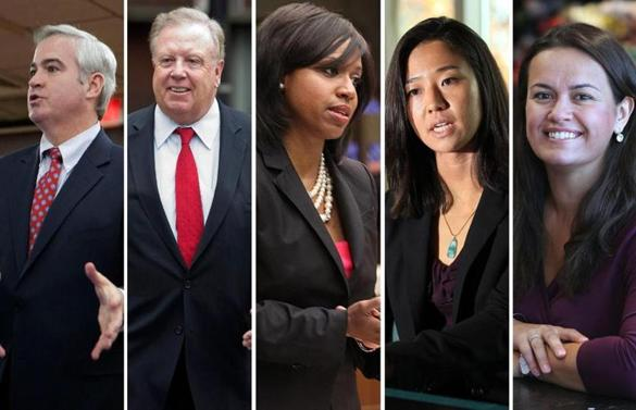 From left: Incumbents Michael Flaherty, Stephen J. Murphy, Ayanna Pressley, and Michelle Wu; and challenger Annissa Essaibi-George.