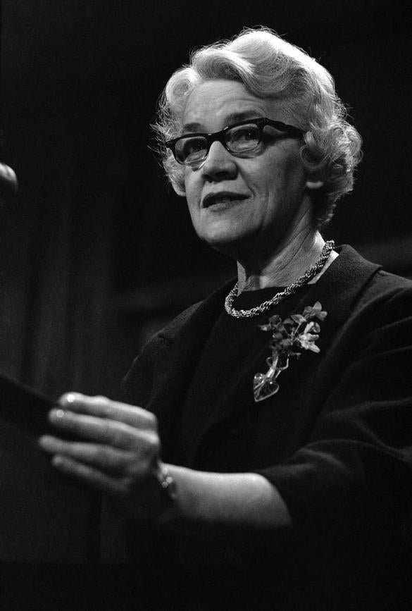 Sen. Margaret Chase Smith, R-Maine, addresses the American Society of Newspaper Editors in Washington on April 18, 1964.