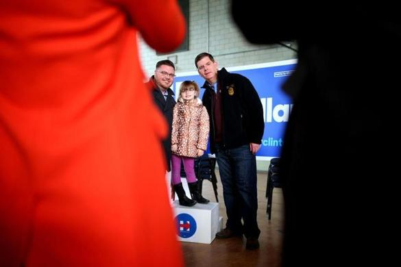 John Doherty (left), along with his daughter Aleah, 6, had their picture taken with Boston Mayor Marty Walsh.