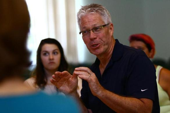 Artistic director Bob Walsh of the Gloucester Stage Company at a meeting for
