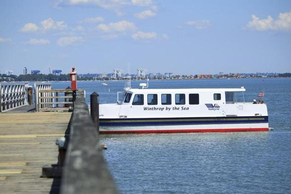 This pilot ferry service runs between Squantum Point Park in Quincy and Rowes Wharf in Boston.