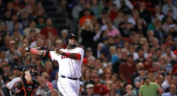 09/12/16: Boston, MA: Red Sox DH David Ortiz is pictured as he hits a home run. The Boston Red Sox hosted the Baltimore Orioles in a regular season MLB baseball gamut Fenway Park. (Globe Staff Photo/Jim Davis) section: metro topic: Red Sox-Orioles