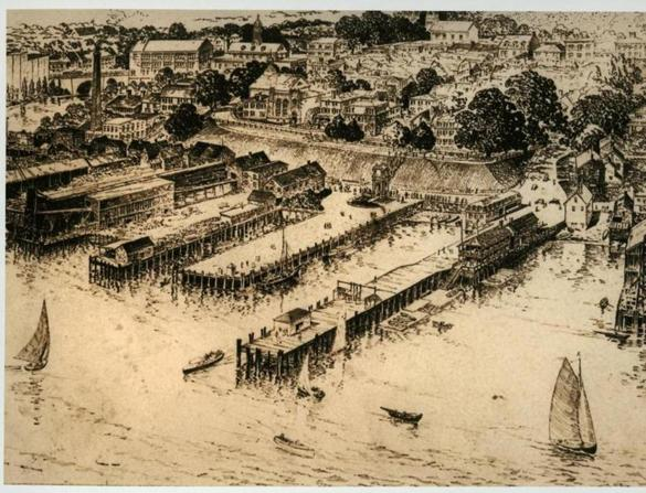 xxsoplymouth400 - An artist's rendering of the Plymouth Center waterfront in the early 1900s before the clearing of the wharves and commercial buildings for the Tercentenary celebration. (Pilgrim Hall Museum)